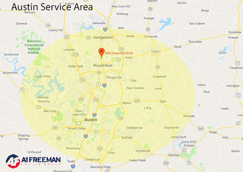A-1 Freeman Austin Moving Service Area Map